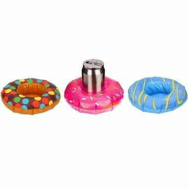Afgeprijsde 3x feest opblaas donuts bruin/roze/blauw 18 cm bekerhoude
