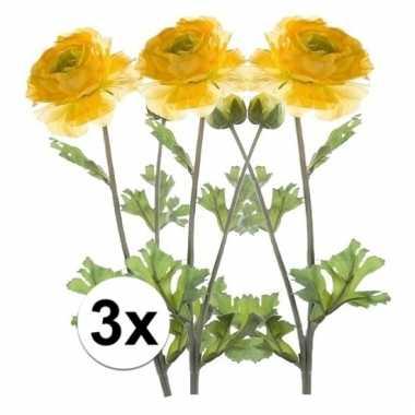 Afgeprijsde 3x gele ranonkel 45 cm kunstplant takken