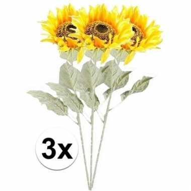 Afgeprijsde 3x gele zonnebloem 82 cm kunstplant steelbloem