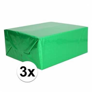 Afgeprijsde 3x glitter hobbyfolie groen 150 cm