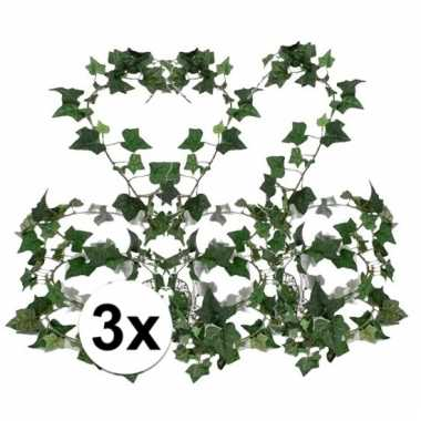 Afgeprijsde 3x groene klimop slinger 180 cm kunstplant