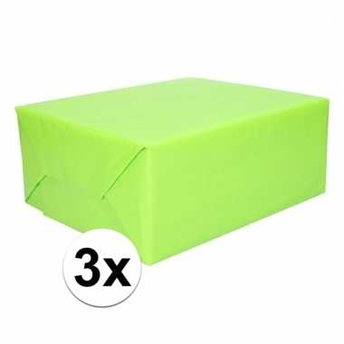 Afgeprijsde 3x inpakpapier lime groen 200 cm