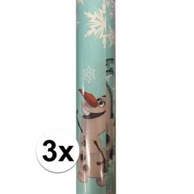 Afgeprijsde 3x kadopapier/cadeaupapier rol disney frozen olaf 200 x 7