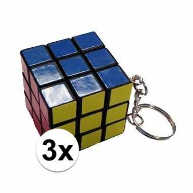 Afgeprijsde 3x mini kubus spelletjes 3 cm aan sleutelhanger