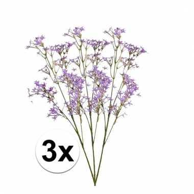 Afgeprijsde 3x paarse kroonkruid 68 cm kunstplant takken
