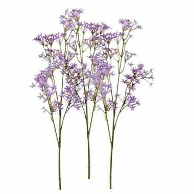 Afgeprijsde 3x paarse kroonkruid kunstbloemen takjes 68 cm