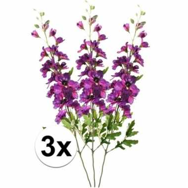 Afgeprijsde 3x paarse ridderspoor 70 cm kunstplant takken
