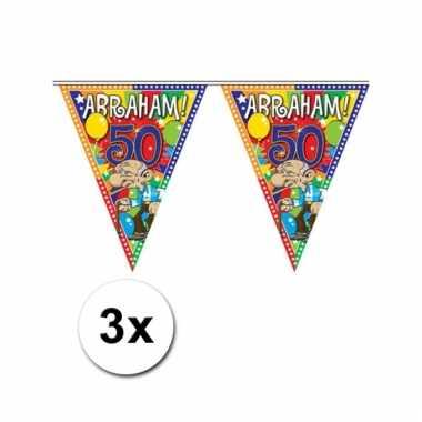Afgeprijsde 3x plastic abraham 50 jaar vlaggenlijn