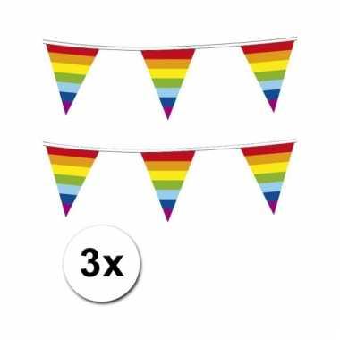 Afgeprijsde 3x plastic regenboog punt vlaggenlijn
