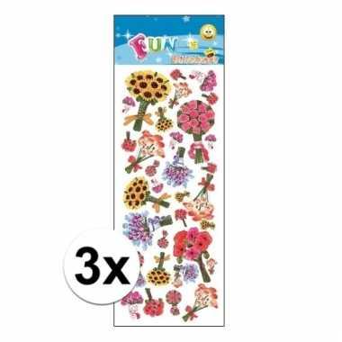 Afgeprijsde 3x poezie album stickers bloem boeketten