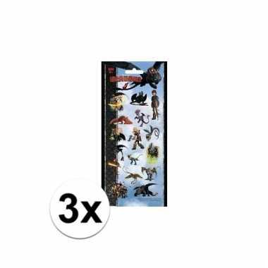 Afgeprijsde 3x poezie album stickers dragons