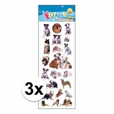 Afgeprijsde 3x poezie album stickers honden