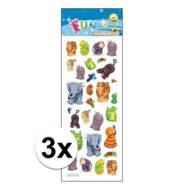 Afgeprijsde 3x poezie album stickers jungle dieren