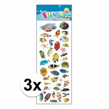 Afgeprijsde 3x poezie album stickers tropische vissen