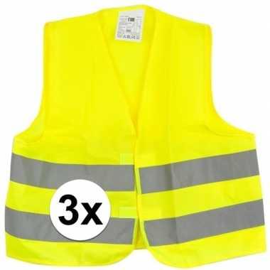 Afgeprijsde 3x reflecterende veiligheids vestjes geel voor jongens en