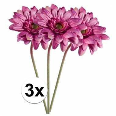 Afgeprijsde 3x roze gerbera 47 cm kunstplant steelbloem