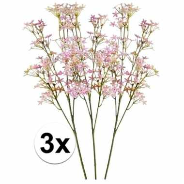 Afgeprijsde 3x roze kroonkruid 68 cm kunstplant takken