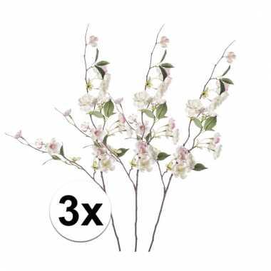 Afgeprijsde 3x roze perzikbloesem 80 cm kunstplant takken