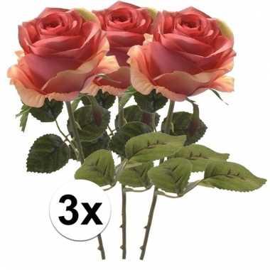 Afgeprijsde 3x roze roos 45 cm kunstplant steelbloem