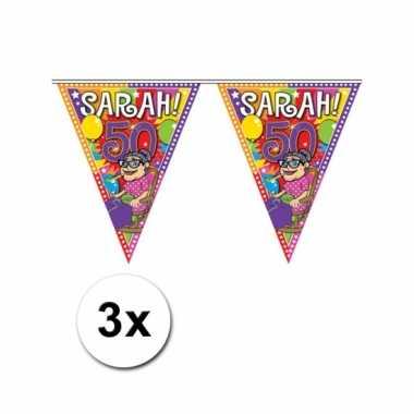 Afgeprijsde 3x sarah 50 jaar vlaggenlijnen 10 meter
