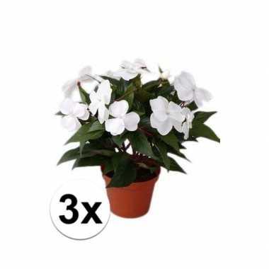 Afgeprijsde 3x stuks kunstplanten heester wit vlijtig liesje van 25 c