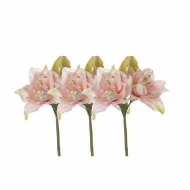 Afgeprijsde 3x stuks nep bloemen amaryllis roze 41 cm