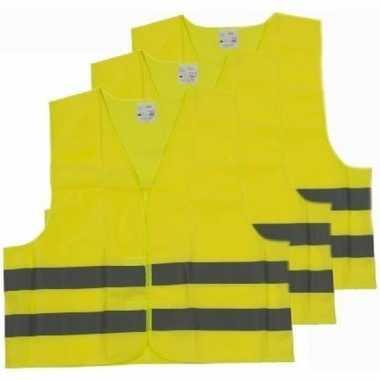 Afgeprijsde 3x veiligheidsvesten/hesjes geel voor volwassenen
