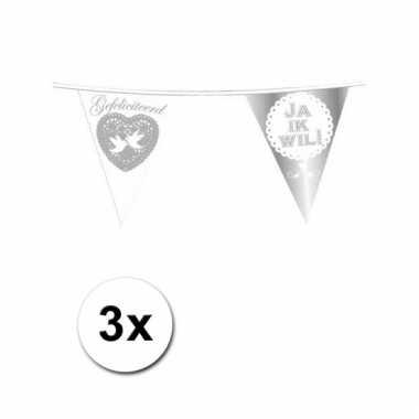 Afgeprijsde 3x vlaggenlijn huwelijk ja ik wil