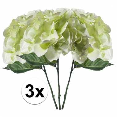 Afgeprijsde 3x wit/groen hortensia 28 cm kuntplant takken