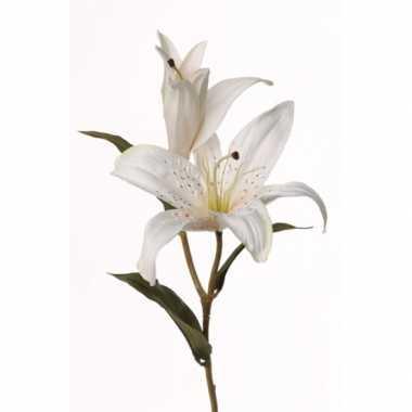 Afgeprijsde 3x witte lelies nep bloemen 77 cm