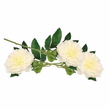 Afgeprijsde 3x witte pioenroos kunstbloemen 42 cm