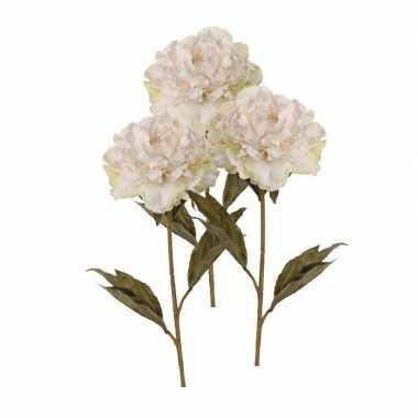Afgeprijsde 3x witte pioenrozen kunstbloemen nep 67 cm