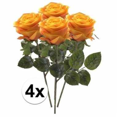 Afgeprijsde 4 x geel/oranje roos simone 45 cm kunstplant steelbloem