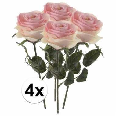 Afgeprijsde 4 x licht roze roos simone 45 cm kunstplant steelbloem
