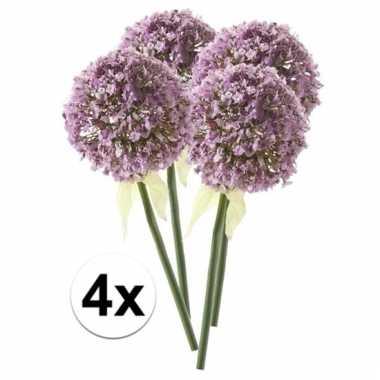 Afgeprijsde 4 x lila sierui 70 cm kunstplant steelbloem