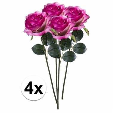 Afgeprijsde 4 x paars/roze roos simone 45 cm kunstplant steelbloem