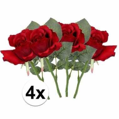 Afgeprijsde 4 x rode roos 30 cm kunstplant steelbloem