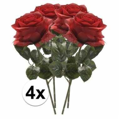 Afgeprijsde 4 x rode roos simone 45 cm kunstplant steelbloem