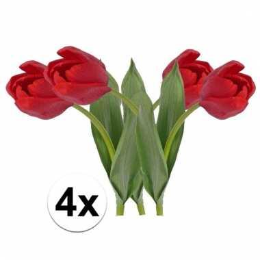 Afgeprijsde 4 x rode tulp 48 cm kunstplant steelbloem