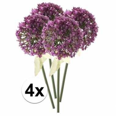 Afgeprijsde 4 x roze/paarse sierui 70 cm kunstplant steelbloem