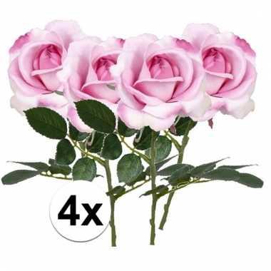 Afgeprijsde 4 x roze roos carol 37 cm kunstplant steelbloem