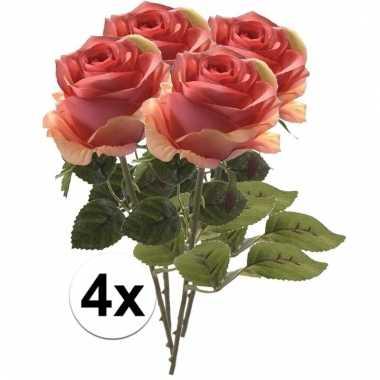 Afgeprijsde 4 x roze roos simone 45 cm kunstplant steelbloem