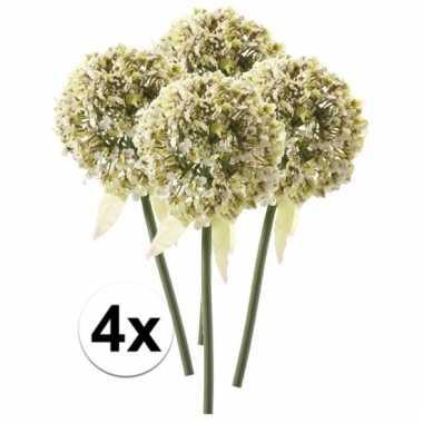 Afgeprijsde 4 x witte sierui 70 cm kunstplant steelbloem