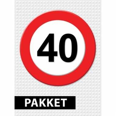Afgeprijsde 40 jaar verkeersbord versiering pakket