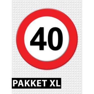 Afgeprijsde 40 jaar verkeersbord versiering xl pakket