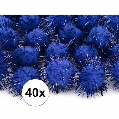 Afgeprijsde 40x kobalt blauwe decoratie pompons 20 mm