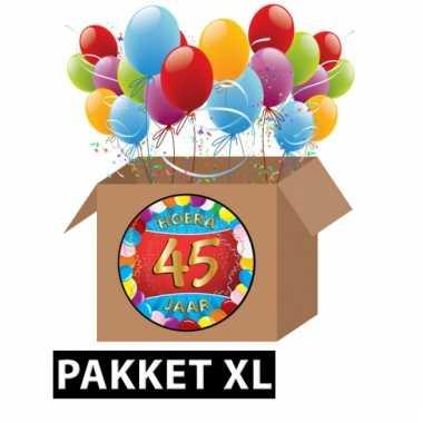 Afgeprijsde 45 jaar party artikelen pakket xl