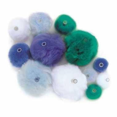 Afgeprijsde 45 knutsel pompons met kunststof ogen blauw/lichtblauw/gr