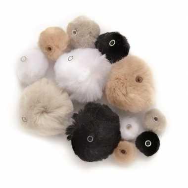 Afgeprijsde 45 knutsel pompons met kunststof ogen wit/zwart/grijs