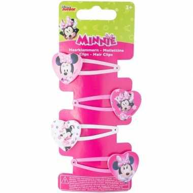 Afgeprijsde 4x disney minnie mouse haar speldjes/pins/clips voor meis